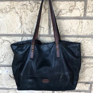 Fossil Leather Bag Navy & Brown Tote